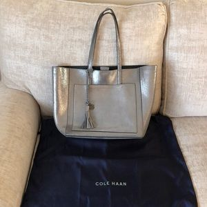 Great Condition Cole Haan Silver leather Tote